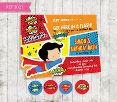 Superhero Invitation Invitación superman Diy por CreativaDesignCo