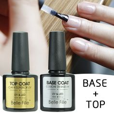 Base And Top Coat Transparent UV Gel Nail Polish 10ml Soak Off Long Lasting Primer Lacquer Nail Manicure Vernis Semi Permanent   Price: 2.79 USD