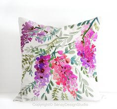 Wisteria - One of a kind watercolour floral is an unique design by Senay @SenayDesignStudio  * Original eco-friendly fabric, featuring our unique hand painted design * Hand crafted throw pillow case/cushion cover with attention to details * Custom made to fit standard size pillow form/insert: 16 inches x16 inches, 20 inches x 20 inches, 26 inches x 26 inches * Front - Watercolor painting 55% linen 45% cotton * Back - Solid colour 100% premium flax linen in natural colour * YKK Invis...