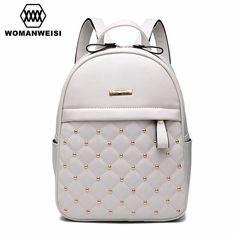 2017 Luxury Leather Backpacks For Teenage Girls Fashion Brand Women Bagpack  School Bags For Teenagers Mochila d08c4cc522d9