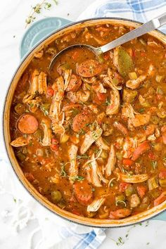Get a taste of New Orleans with this hearty chicken andouille sausage gumbo! Smoky sausage, okra, tender chicken and vegetables makes this a delicious dish. Creole Recipes, Cajun Recipes, Seafood Recipes, Crockpot Recipes, Soup Recipes, Chicken Recipes, Cooking Recipes, Louisiana Recipes, Crockpot Gumbo Recipe