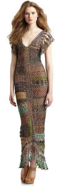 Stunning crochet evening maxi dress.would make it shorter