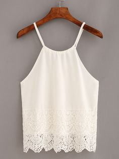 Shop Lace Trimmed Keyhole Drawstring Neck Cami Top - White online. SheIn offers…