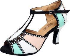Abby Q-6211 Womens Latin Tango Cha-cha Ballroom Kitten Heel Peep-toe PU Professional Dance-shoes Green M US Size9.5