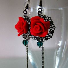*POLYMER CLAY ~ Red Rose Filigree Earrings