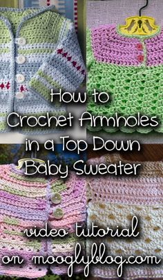 Direct link to free video tutorial - Learn how to start a simple baby sweater with this super easy top down technique! Crochet Girls, Knit Or Crochet, Crochet For Kids, Crochet Stitches, Free Crochet, Crochet Patterns, Sweater Patterns, Crochet Cardigan, Crochet Baby Sweaters