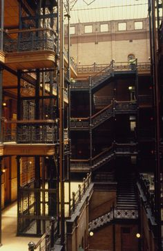 Bradbury Building, Los Angeles, I ate lunch in this building.  The place is gorgeous.