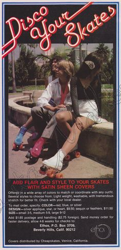 Add flair and style to your skates with satin sheen covers.  Roller Skating Magazine, October 1979