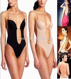 424987b434b8 Wechery Vestido Backless Shapewear Deep Plunge Thong Body Shaper Tops  Invisible Bra Under Dress Sexy Clear Strap