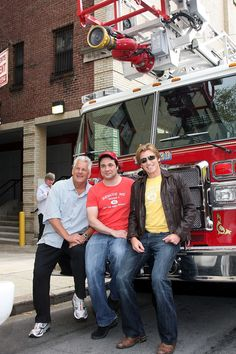 "Lenny Clarke, Adam Ferrara, and Denis Leary on the set of ""Rescue Me"""