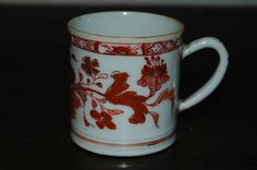 Chinese Kangxi coffee can red gilt 18th C  £27
