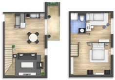 Floor plan rendering 16 The purchase price reach of the Apartment was amazing. Small House Layout, Tiny House Design, House Layouts, Small House Plans, House Floor Plans, Tyni House, H Design, Narrow House, Apartment Layout