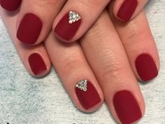 Who said that only dark or pastel manicure can be decorated diamonds? Bright red nails with rhinestones is the design for the queen! See the best ideas about rhinestones on red nails. Short Red Nails, Dark Red Nails, Bright Red Nails, Burgundy Nails, Blue Nails, White Nails, Grey Nail Designs, Diamond Nails, Rainbow Nails