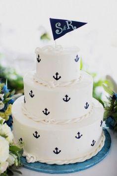 nautical white blue cake round three layered anchors monogram top