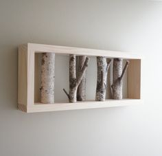 natural, reclaimed white birch forest wall art