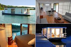 Not initially designed using shipping containers but could definitely work. What a great way to vacation. Thinking that this culd be built for a fraction of the cost of a houseboat.