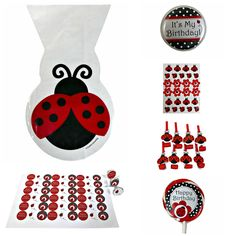 Ladybug Themed Birthday Party Loot Bag Collection for 8 Kids