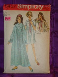 "This 1969 vintage Simplicity pattern is in very good used condition with all pieces and instructions included. The measurements for this Misses' size Large 16 - 18 are given as Bust 38 40 inches Waist 29 31 Hip 40 42 or METRIC Bust 97 102 Waist 74 79 Hip 102 107. The description on the back of the envelope reads: ""Misses Nightgown in Two Lengths and Bedjacket: The nightgown V. 1 & 2 and bedjacket V. 3 gathered to front and back yokes has front button closing and set-in sleeves. Ankle leng..."