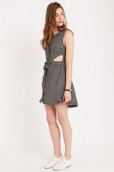 Urban Outfitters Gingham Side Cut-Out Dress in Black & White