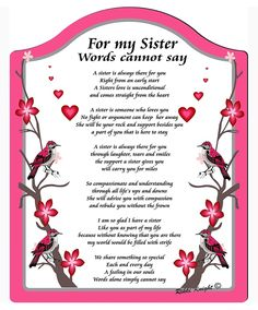 Ideas Birthday Sister Quotes Poems Brother For 2019 Cute Sister Quotes, Brother N Sister Quotes, Little Sister Quotes, I Miss My Sister, Soul Sister Quotes, Sister Cards, Son Quotes, Wise Quotes, Quotes Inspirational