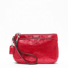 "Coach Signature Stripe Stitch Patent Wristlet - Medium by Coach. $78.99. measurements approximately: 7.75"" x 5.25"" x 1.5. zipper closure, fabric lining. strap with clip to form a wrist strap or small handle top handle. Signature Stripe Stitched Patent Medium Wristlet Stitched patent leather Inside multifunction pocket Zip-top closure, fabric lining Strap with clip to form a wrist strap or attach to the inside of a bag 7 .75"" (L) x 5.5 x"" (H) Coach care card, p..."