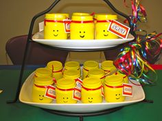 Lego party favor...from baby food jars.