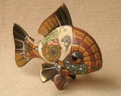 Fish - porcelain sculpture - by Ukrainian artists Anya Stasenko and Slava Leontyev