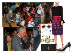 """""""Touring with her parents communities centers throughout the city to meet and speak with the victims affected by the recent riots"""" by alice-windsor ❤ liked on Polyvore featuring Mary Katrantzou, Yves Saint Laurent, L.K.Bennett and Tiffany & Co."""