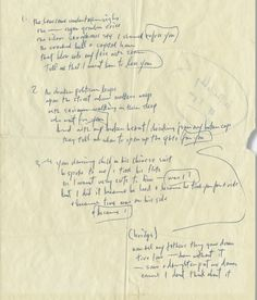 """Bob Dylan handwritten lyrics for """"I Want You"""" from his """"Blonde on Blonde"""" album… Bob Dylan Quotes, Bob Dylan Lyrics, Blonde Album, Nobel Prize In Literature, American Poets, Music Magazines, Le Web, Ringo Starr, Popular Music"""