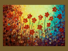 """36x24 Original Modern Abstract Impasto Palette Knife Painting Landscape Flowers Wall Decor """"Summer Is Ending"""" by QIQIGALLERY"""