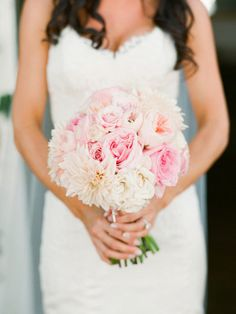 pink bouquet with roses and dahlias |  Photography by lanedittoe.com |  Floral Design by floraloccasions.com |   Read more - http://www.stylemepretty.com/2013/07/03/villa-san-juan-capistrano-wedding-from-lane-dittoe-fine-art-wedding-photographs/