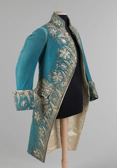 Court Coat, British ca. 1775-1785 wool, metal, silk, glass
