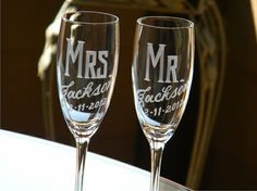 Adorable Mr. and Mrs. Champagne Glasses