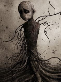 Framed Print - Weird Human Figure Wrapped In Tree Roots (Picture Poster Gothic)