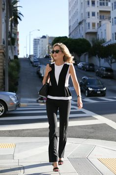 c bgbg tuxedo peplum black and white top black dress pants work wear office attire professional women style fashion blog san francisco
