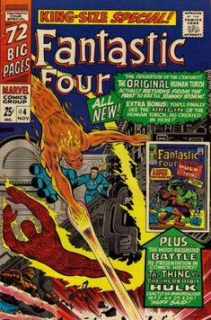 The Mad Thinker has a mad thought: Resurrect the original Human Torch to fight today's Torch, Johnny Storm! (Also in this issue: Reprinting the original Torch's origin and the first Thing/Hulk fight! A quarter then, a quarter of a shipload of money now!)
