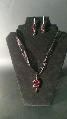Magenta  Pearl with Black Polymer Clay Necklace and earrings