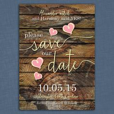Rustic Hearts Save the Date Card  printable by LittleBeesGraphics, $12.99