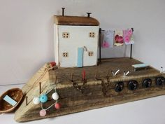 Driftwood Cottage,White Fisherman's Cottage,Reclaimed wood art,Driftwood Houses