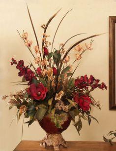 2' ORCHIDS & PHEASANT FEATHERS ARTIFICIAL SILK FLOWER ARRANGEMENT CENTERPIECE