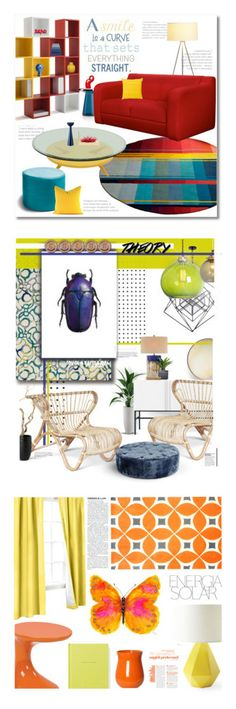 """""""Winners for Color Theory: Bright Rugs"""" by polyvore ❤ liked on Polyvore featuring interior, interiors, interior design, home, home decor, interior decorating, Jaxx, Guidecraft, Superliving and HAY"""