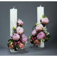 Lumanari nunta Church Decorations, Bridal Flowers, Flower Tutorial, Baby Sewing, Pillar Candles, Monkey, Weddings, Flower Arrangements, Pink