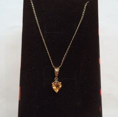 Citrine Heart Pendant Necklace 10K and 14K Yellow Gold by Zeppola on Etsy