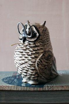 Oscar the Owl String and Scissor Holder