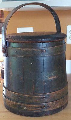 Antique Primitive Large Wooden Firkin Original RARE Green Paint...~♥~
