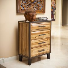 Natural Brown Dresser Storage Stained Wood Drawers Industrial Bedroom Furniture #GDF #Industrial