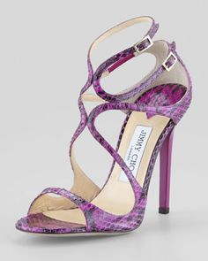 Lance Curvy Snake Sandal, Orchid by Jimmy Choo at Neiman Marcus. I could never wear these but admire the style