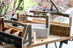 beginning of a quirky DIY toolbox revolution Reclaimed wood toolbox kits with branch handles, created by Reclaimed wood toolbox kits with branch handles, created by