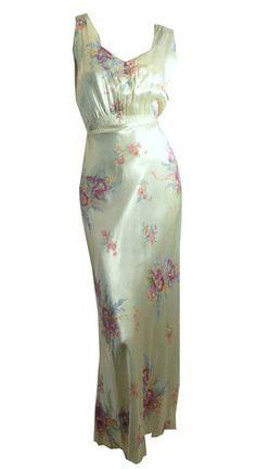 Orchid Bouquet Floral Print Satin Bias Cut Nightgown circa 1940s - Dorothea's Closet Vintage
