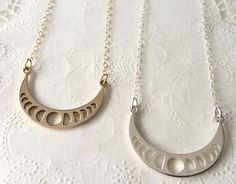 Lunar Phase Necklace // Moon Phase Necklace by RedGiraffeDesigns